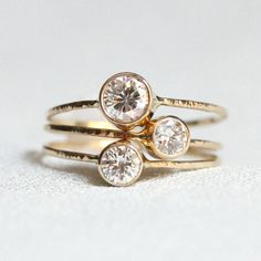 Three Delicate Moissanite Stacking Rings - Dainty and Simple Solid White or Yellow or Rose Gold Stack Rings - Luxury Set Diamond Rings, Diamond Jewelry, Gemstone Rings, Gold Jewellery, Solid Gold, White Gold, Kids Rings, 14k Gold Ring, Gold Rings