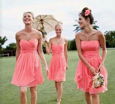 beach wedding coral & Gold bridesmaid dresses - Google Search