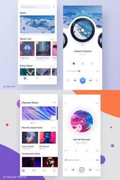 Mobile Ui Design, App Ui Design, Android Ui, App Design Inspiration, Music App, Mobile Application Development, Creative Posters, Ui Kit, Billboard