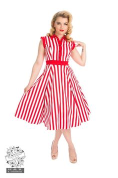 Robe Pin-Up Rétro 50's Rockabilly Swing Rayé Rouge Blanc