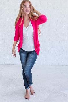 Hot Pink cardigan, cute cardigan outfits