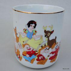 Coffee Mug Disneyland Snow White & 7 Dwarfs WDF Porcelain Japan c1970s 80s
