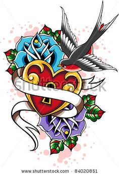 Swallow tattoo- add another swallow and put date on ribbon. RIP tat
