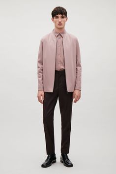 Cos Bonded Jersey Bomber Jacket In Pink Cos Man, Fashion 2020, Mens Fashion, Pink Bomber Jacket, Men's Coats And Jackets, Minimalist Fashion, Timeless Fashion, Normcore, Menswear