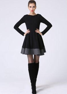 Schwarzes kleid wolle
