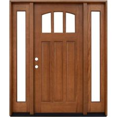 Steves & Sons Craftsman 3 Lite Arch Stained Mahogany Wood Entry Door with Sidelites - M4151-10-AW-4RH - The Home Depot