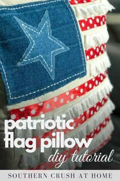 Just in time for Fourth of July! Learn how to make this adorable patriotic flag pillow on my blog.  #patrioticdecor #fourthofjuly #diy Making Throw Pillows, How To Make Pillows, Diy Pillows, Fourth Of July Decor, Dollar Tree Crafts, Decor Ideas, Craft Ideas, July Crafts, Patriotic Decorations