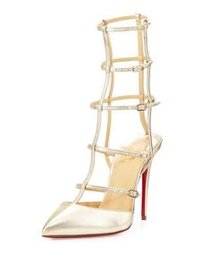 CHRISTIAN LOUBOUTIN KADREYANA CAGED 100MM RED SOLE SANDAL, GOLD. #christianlouboutin #shoes #sandals