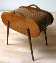 Midcentury Danish tambour top sewing box