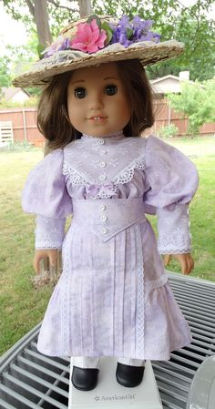"""RESERVED LISTING 18"""" Doll Clothes Early 1900's Gibson Girl Style Dress and Hat Fits American Girl Samantha, Rebecca"""