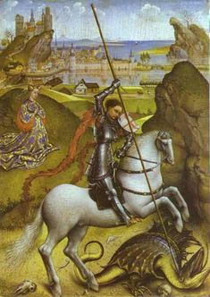 Rogier van der Weyden - Saint George and the Dragon - Saint George structured art gallery - Wikimedia Commons