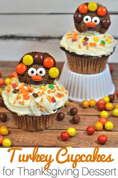 Don't miss this easy recipe for Turkey Cupcakes. Grab your favorite mix and frosting to create a delicious treat for a Thanksgiving party. It's a fun twist on the traditional desserts like pie and sure to be loved by the whole family! Get your kids in the kitchen to try out this fun idea! I can't think of a better way to end a meal this season.