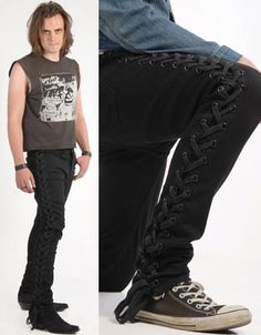 Side Lace Junkie Fit Guys Stretch Jean in BLACK by Lip Service