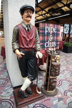 Golfer Statue With Clubs