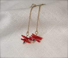 Tiny thread earrings Pyrite red coral 14k gold by ThePillowBook, $52.00