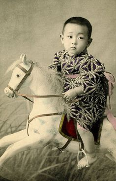 Young Lucius outfit (A hand-coloured Japanese postcard of a young boy astride a dappled-grey rocking-horse, dating to the late Meiji period or early Taisho period Antique Photos, Vintage Pictures, Vintage Photographs, Old Pictures, Vintage Images, Old Photos, Portraits Victoriens, Japan Photo, Illustrations