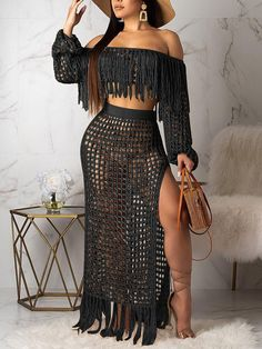 Black Off Shoulder Tassel Cut Out Two Piece Side Slits Sheer Beachwear Party Maxi Dress Source by alinelimacampos party Midi Skirt Outfit Casual, Skirt Outfits, Crochet Bikini Pattern, Black Off Shoulder, Wide Pants, Cropped Pants, Ladies Dress Design, Plus Size Fashion, Curvy Fashion
