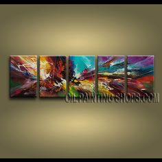 Beautiful Modern Abstract Painting Oil Painting On Canvas Panels Gallery Stretched Abstract. This 5 panels canvas wall art is hand painted by A.Qiang, instock - $185. To see more, visit OilPaintingShops.com