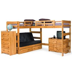 Actually I may build this corner loft bed in the girls room by the closet.  Would be a much better fit, with a desk underneath and bookshelves under each end.  NO futon though.  Perfect for two maturing young ladies who have to share a room. Will give them much more room!