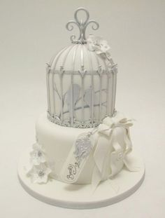 birdcage wedding cake what an awesome cake for an outdoor garden wedding I would add some fresh flowers at the base/ centralflweddingflowers/ www.callaraesfloralevents@yahoo.com
