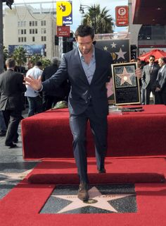 Hugh Jackman celebrates his Golden Globe nomination with a Hollywood star