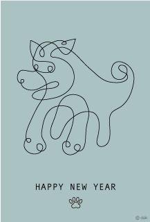 線画クラフィックデザインの戌年年賀状
