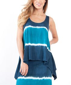 Another great find on #zulily! Teal & Blue Tie-Dye Crochet Back Tank by Urban X #zulilyfinds