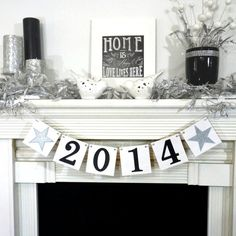 Graduation 2014 / GRAD Party Decoration/ Happy New Year 2014 / Strke of Midnight Garland / New Years Banner / Black & Silver on Etsy, $12.00