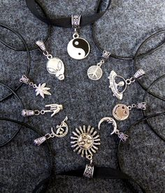 Custom 90s soft grunge black leather cord choker with your choice of charm between yin yang alien head alien ufo spaceship peace sign smiley face moon fairy in moon sun i love you or rock on sign and cannabis 420 mary jane marijuana hemp pot leaf by BubbleGumGraffiti