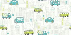 Motor Mania Teal (533503) - Albany Wallpapers - A fun kids wallcovering with designs of cars and buses in a town in a cartoon effect - shown in teal and lime green. Other colour ways available. Please request a sample for true colour match.