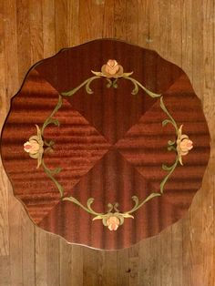 Antique Plant Stand with carved leg and an inlaid top. $156