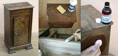 éclaircir un meuble ; eau et savon noir, puis eau oxygénée ou alcool ménager