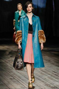 Prada Fall 2013 Blue Leather and Fur Coat