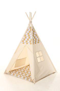 Christmas gift teepee  yellow and gray triangles Teepee Set Kids Play Tent Tipi Kid Play Teepee Child Teepee Wigwam Zelt Tente