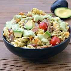Avocado buttermilk ranch dressing and crispy bacon make this pasta salad one you'll fall in love with!