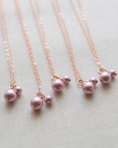 Double Pearl Necklace - Choose from 9 different pearl colors to lay on a shiny rose gold chain. By Olive Yew.