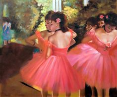 """""""Dancers in Pink"""" by Edgar Degas placed 9th on overstockArt.com's 2014 Top 10 list. Hand painted reproductions are available in a variety of sizes at overstockArt.com. #art"""