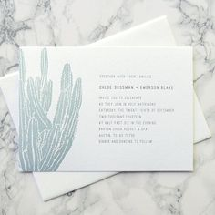 ** THIS LISTING IS FOR A NON PERSONALIZED LETTERPRESS PRINTING SAMPLE OF THE CACTUS SUITE. **  If you would like a flat sample, please purchase