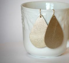 Champagne Gold Shimmer Faux Leather Teardrop earrings by BaublesbyB on Etsy