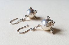 "Juhls, Kautokeino, traditional sami style earrings ""Komsekule"", sterling silver, Norway (F1088)"