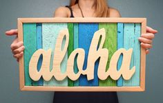 Aloha Reclaimed Wood Sign- Could easily make this.  Weekend project.    Something like this or other Hawaii sign for our bathrooms