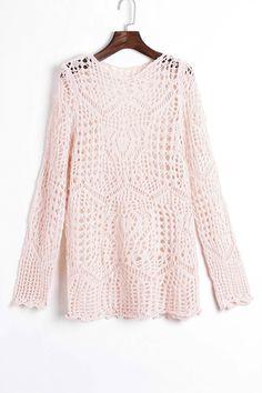 pale pink crochet sweater <3