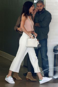 Kendall Jenner's 2015 Shoe Style: Kendall Jenner in Adidas Stan Smith sneakers.