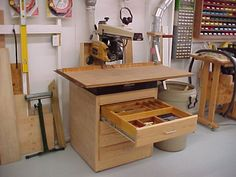 Radial Arm Saw Table with Drawers