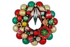 Green, Red, Gold Ornament Wreath