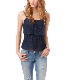 Aeropostale Two Tier Lace Cami in either Classic Navy, or Cream. Spring Fashion Outfits, Teen Fashion, Summer Outfits, Female Fashion, Cute Teen Outfits, Outfits For Teens, Cool Outfits, Aeropostale, Well Dressed
