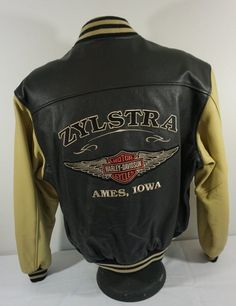 Harley Davidson Black/Tan Leather Baseball Jacket Large Zylstra Harley Ames Iowa