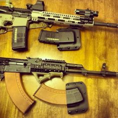 Some of our custom in house rifles, AR15 and AK47! Along with some of our Kydex mag carriers!