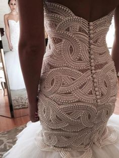 Our dress design firm can actually recreate this heavily beaded wedding gown very similar to the beading that is shown in this picture. We are located near Dallas Tx USA and specialize in custom beaded (and replicas of couture Dress For You, Beaded Wedding Gowns, Diy Mode, Pearl Dress, Dress With Pearls, Amazing Wedding Dress, Perfect Wedding, Dress Vestidos, Bridal Dresses