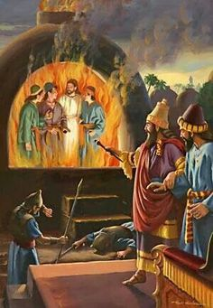 The three young Hebrews in the fire...but protected by God for their faithful stand against the King of the land